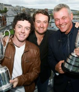 Rory McIlroy with Graeme McDowell and Darren Clarke